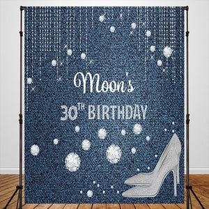 Heels Snowflakes 30th BlueCustom Backdrop for Birthday Party - [product_tag] - ubackdrop