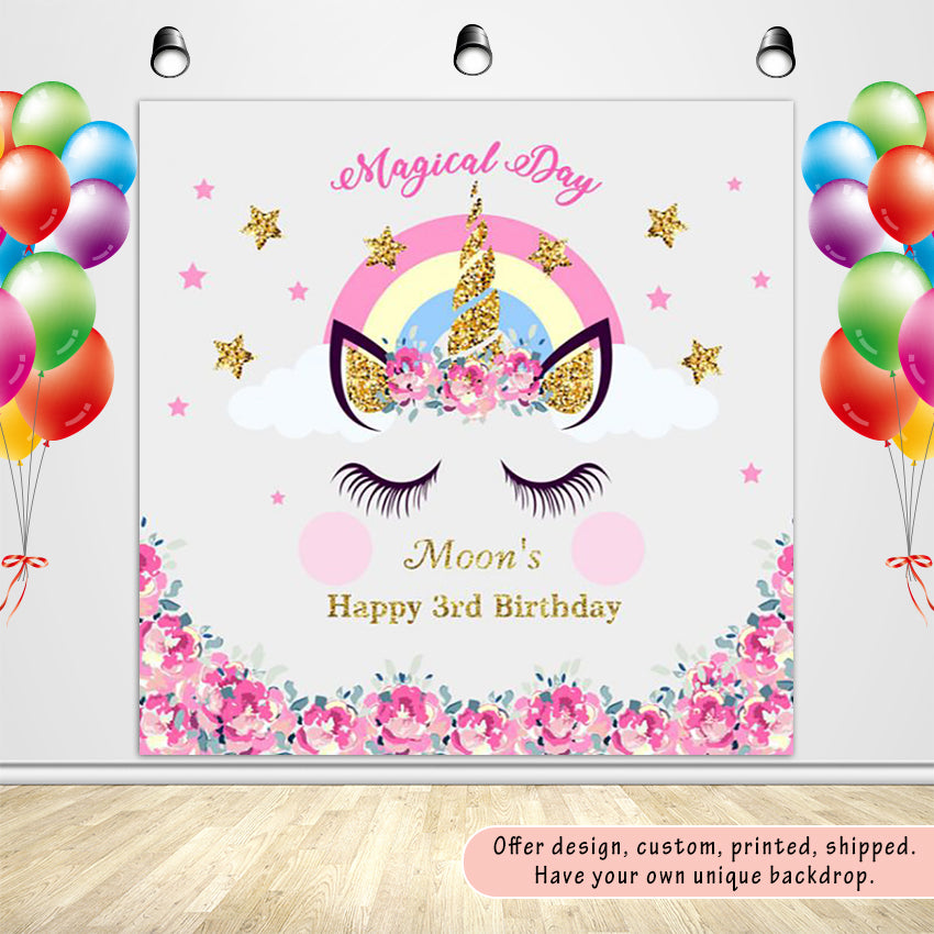 Magical Day Birthday Unicorn with Pink Flowers Custom Backdrop - [product_tag] - ubackdrop