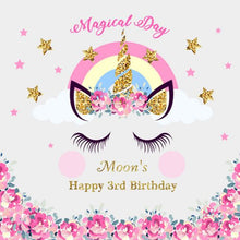 Load image into Gallery viewer, Magical Day Birthday Unicorn with Pink Flowers Custom Backdrop - [product_tag] - ubackdrop