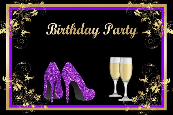 30th Birthday Party Queen Lady Purple Golden Gauguin Shoes Custom Backdrop