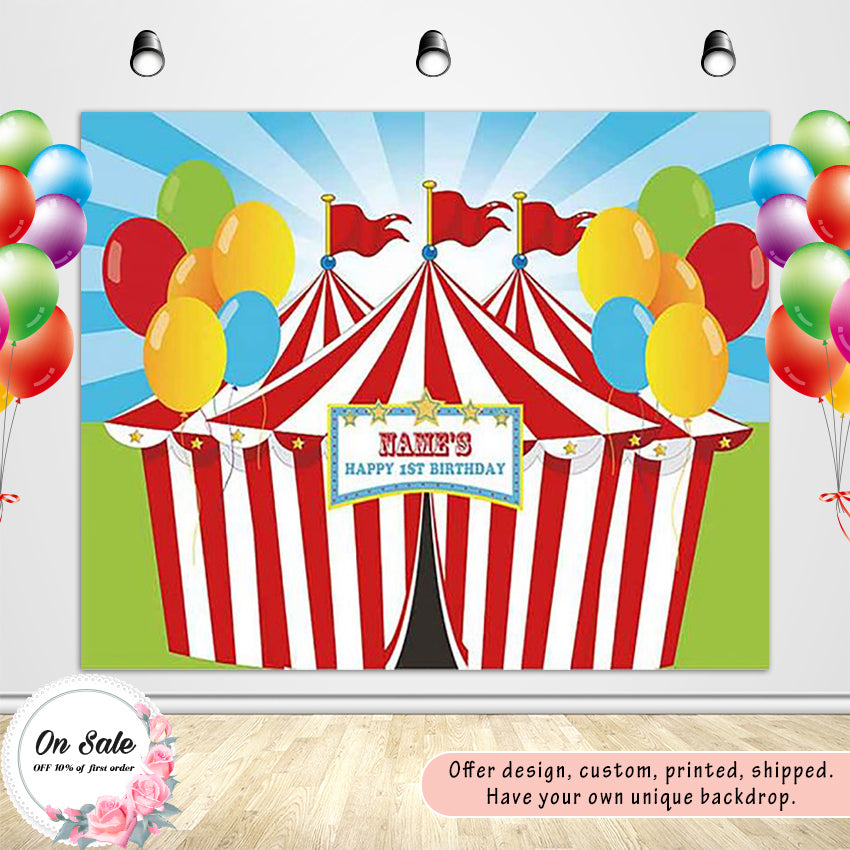 1st Birthday Party Red White Strip Circus with Colorful Balloon - [product_tag] - ubackdrop