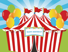 Load image into Gallery viewer, 1st Birthday Party Red White Strip Circus with Colorful Balloon - [product_tag] - ubackdrop