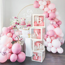 Load image into Gallery viewer, Baby Shower Boxes Party Decorations – 4pcs Transparent Balloons Boxes Décor with Letters-Decorations-[product_tag]-ubackdrop