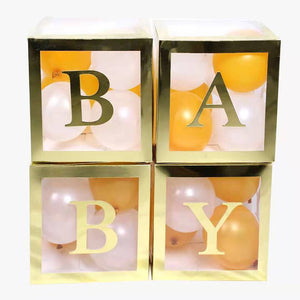 Baby Shower Boxes Party Decorations – 4pcs Transparent Balloons Boxes Décor with Letters-Decorations-[product_tag]-ubackdrop
