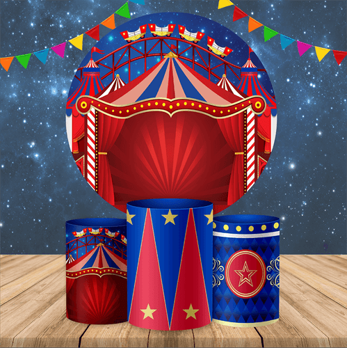 Circus Backdrop Circle Carnival Theme Backdrop for Kids Birthday Party Decoration Ideas-Round Backdrop-[product_tag]-ubackdrop