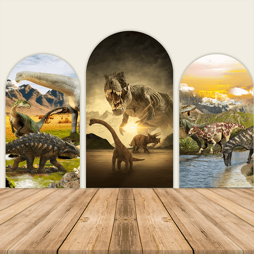 Dinosaur Theme Birthday Party Decoration Chiara Backdrop Arched Wall Covers-ubackdrop