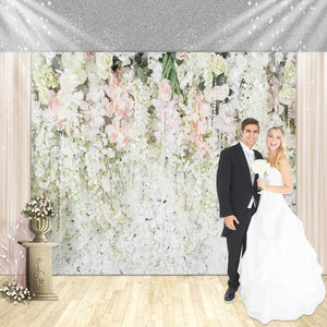 White and Pink Rose Flower Custom Backdrop - [product_tag] - ubackdrop