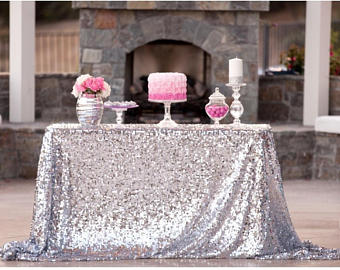 Rectangular&Round Silver Sequin Tablecloth  Sparkly Tablecloth Sequin Tablecloth