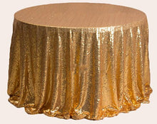 Load image into Gallery viewer, Rectangular&Round Gold Sequin Tablecloth Banquet Ceremony Sparkly Tablecloth Sequin Tablecloth-ubackdrop