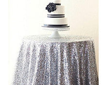 Load image into Gallery viewer, Rectangular&Round Silver Sequin Tablecloth  Sparkly Tablecloth Sequin Tablecloth
