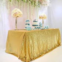 Load image into Gallery viewer, Rectangular&Round Gold Sequin Tablecloth Banquet Ceremony Sparkly Tablecloth Sequin Tablecloth - [product_tag] - ubackdrop