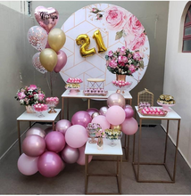 Load image into Gallery viewer, Custom Pink Flower Round Backdrop Floral Party Decor - [product_tag] - ubackdrop