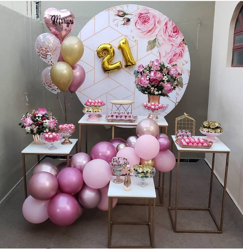 Custom Pink Flower Round Backdrop Floral Party Decor - [product_tag] - ubackdrop