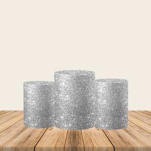 Glitter Silver Utility Pedestal Covers Plinth Cover Printed Fabric Pedestal Cover-Cylinder/Round Covers-[product_tag]-ubackdrop