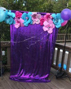 Purple Photography Sequin Fabric Backdrop for Party Prom