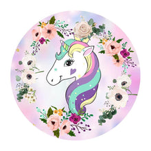 Load image into Gallery viewer, Unicorn Backdrop Pink Purple Floral Unicorn Circle Backdrop Birthday Party Backdrop Ideas-ubackdrop