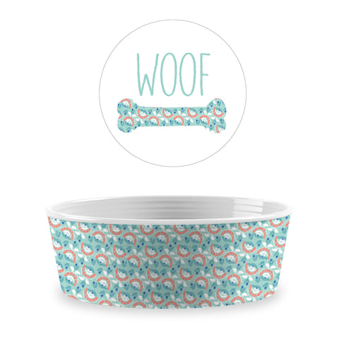 Flower Fields Single Wall Small Pet Bowl Aqua (Set of 2)