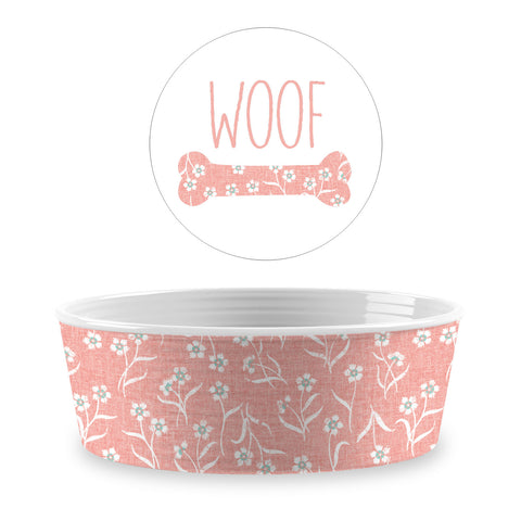Flower Fields Single Wall Medium Pet Bowl Blush (Set of 2)