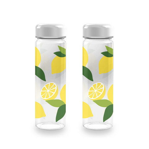 Lemon Fresh Quench Water Bottle, 20 oz., Premium Plastic, Set of 2