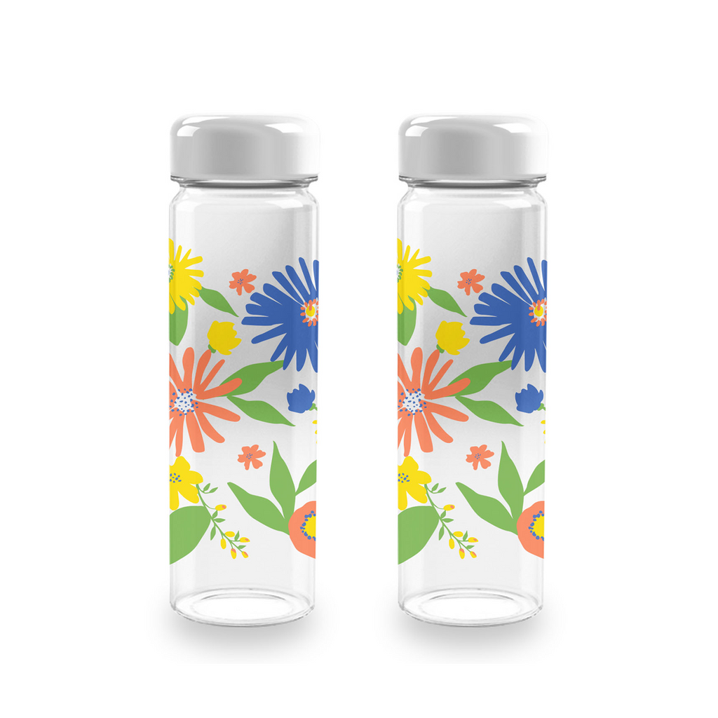 Midsummer Floral Quench Water Bottle, 20 oz. , Premium Plastic, Set of 2