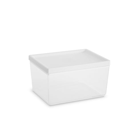 "Ashby Medium Canister, White , 7.3"" x 5.5"" x 5.3"",  67 oz., Premium Plastic, Set of 2"