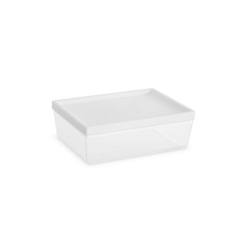 "Ashby Small Canister, White , 7.3"" x 5.5"" x 3.7"",  37 oz. , Premium Plastic, Set of 2"