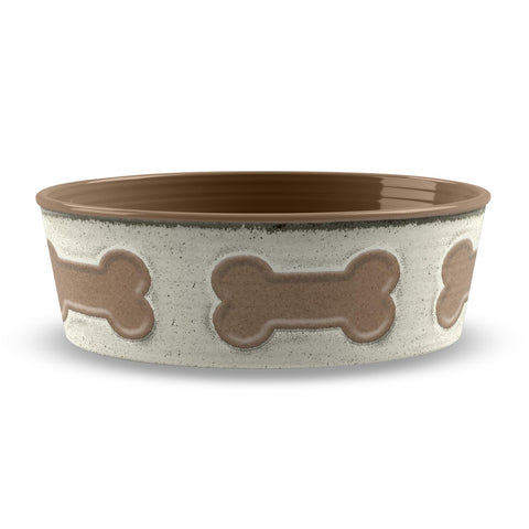 BONE EMBOSS LARGE PET BOWL - Abode Homewares