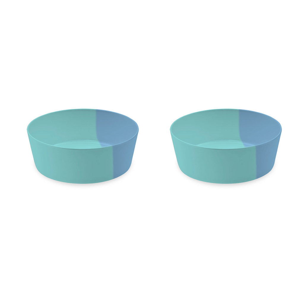 "Dual Pet Bowl, Large, Blue, 7"" x 2.5"",  5 Cups, Melamine, Set of 2"