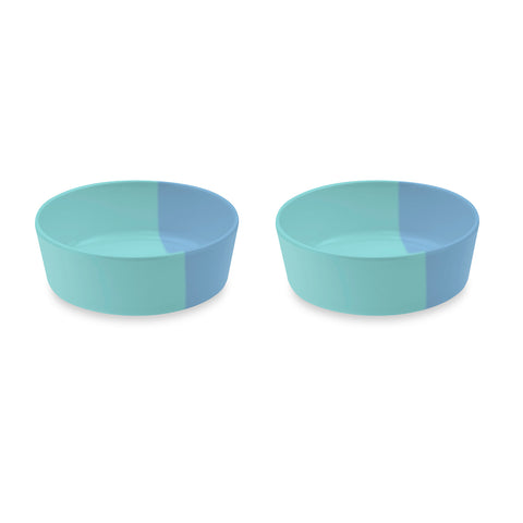 "Dual Pet Bowl, Medium, Blue, 6"" x 2.2"",  3 Cups, Melamine, Set of 2"