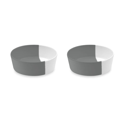 "Dual Pet Bowl, Small, Grey, 5"" x 1.7"",  1.5 Cups, Melamine, Set of 2"