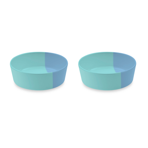 "Dual Pet Bowl, Small, Blue, 5"" x 1.7"",  1.5 Cups, Melamine, Set of 2"