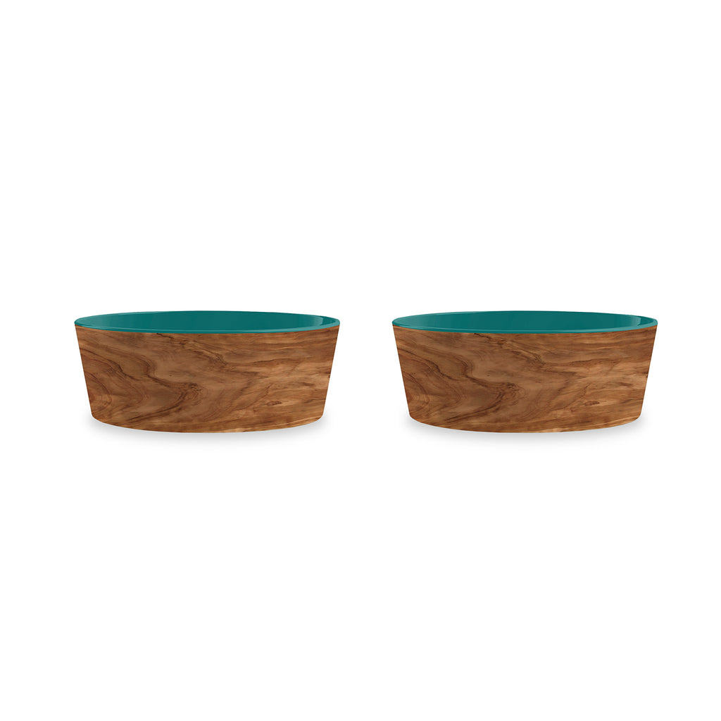 "Olive Pet Bowl, Medium, Teal, 6"" x 2.2"",  3 Cups, Melamine, Set of 2"