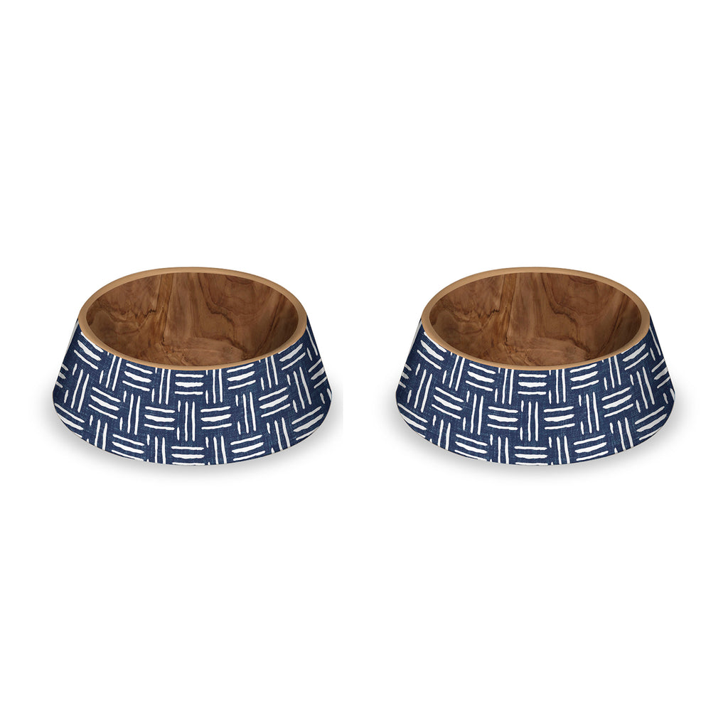 "Indigo Oasis Pet Bowl, Large, 8.9"" x 3.1,  4.75 Cups, Melamine, Set of 2"