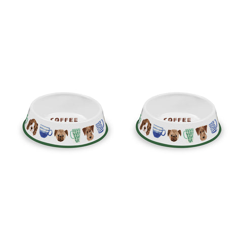 "Coffee And Dogs Pet Bowl, Large, 9.8"" x 2.8"",  6 Cups, Melamine, Set of 2"
