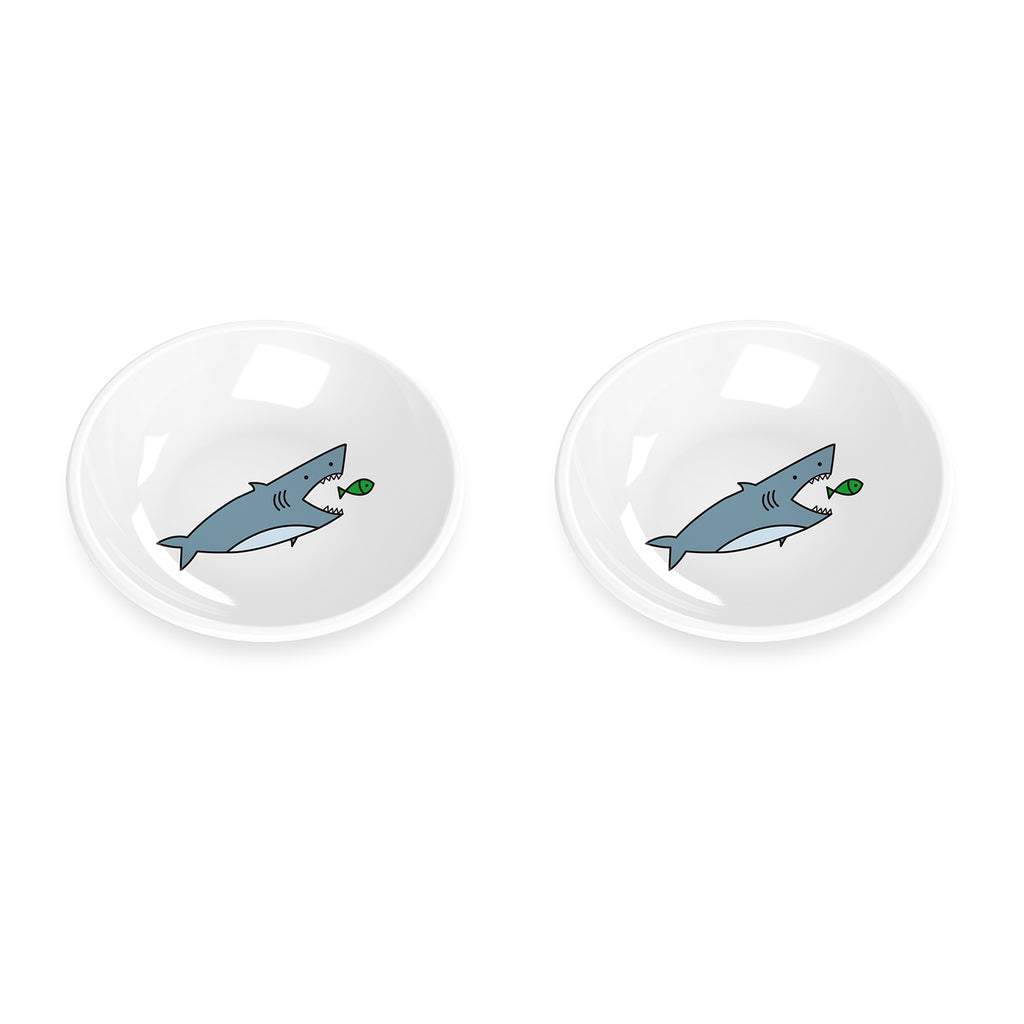 "Fun Food Shark Pet Saucer, 5.2"",  0.75 Cup, Melamine, Set of 2"
