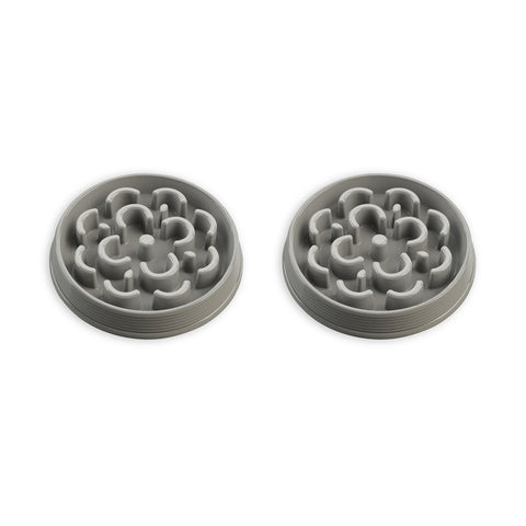 "Slow Chowª Medallion  Feeder, Medium, Grey, 9.8"" x 1.6""/3 Cups, Melamine, Set of 2"