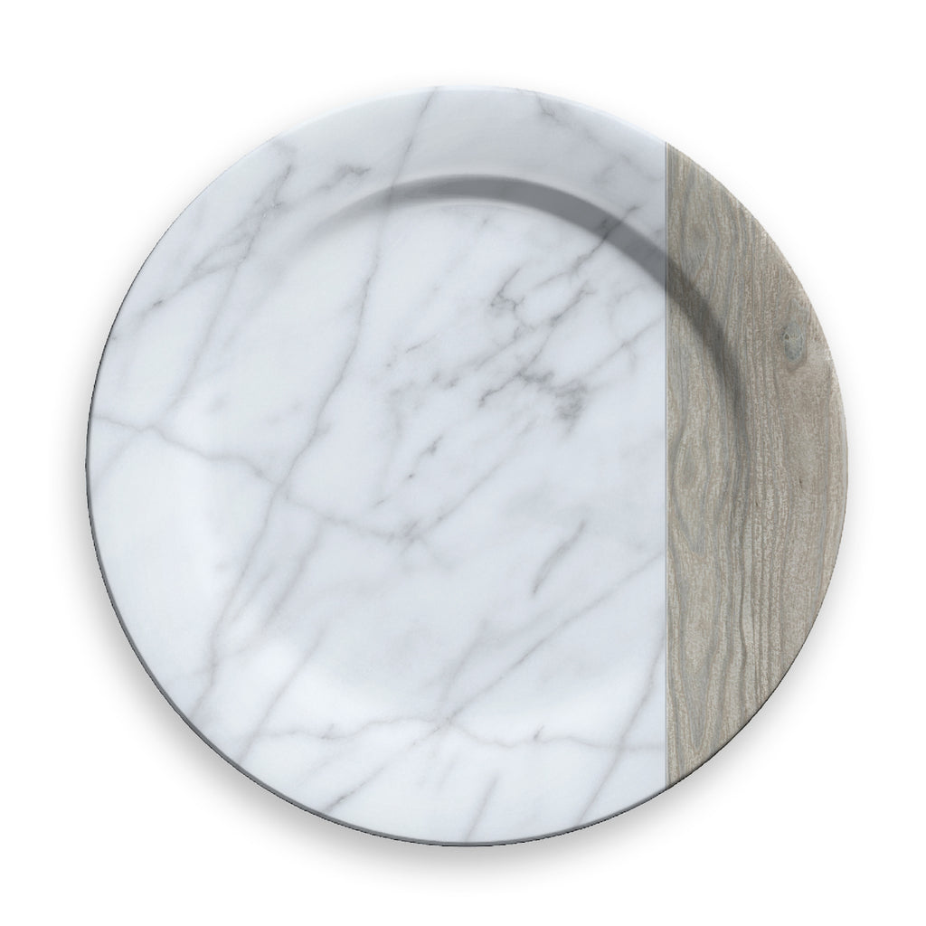 MIXED MATERIAL CARRARA & FRENCH OAK CHARGER - Abode Homewares