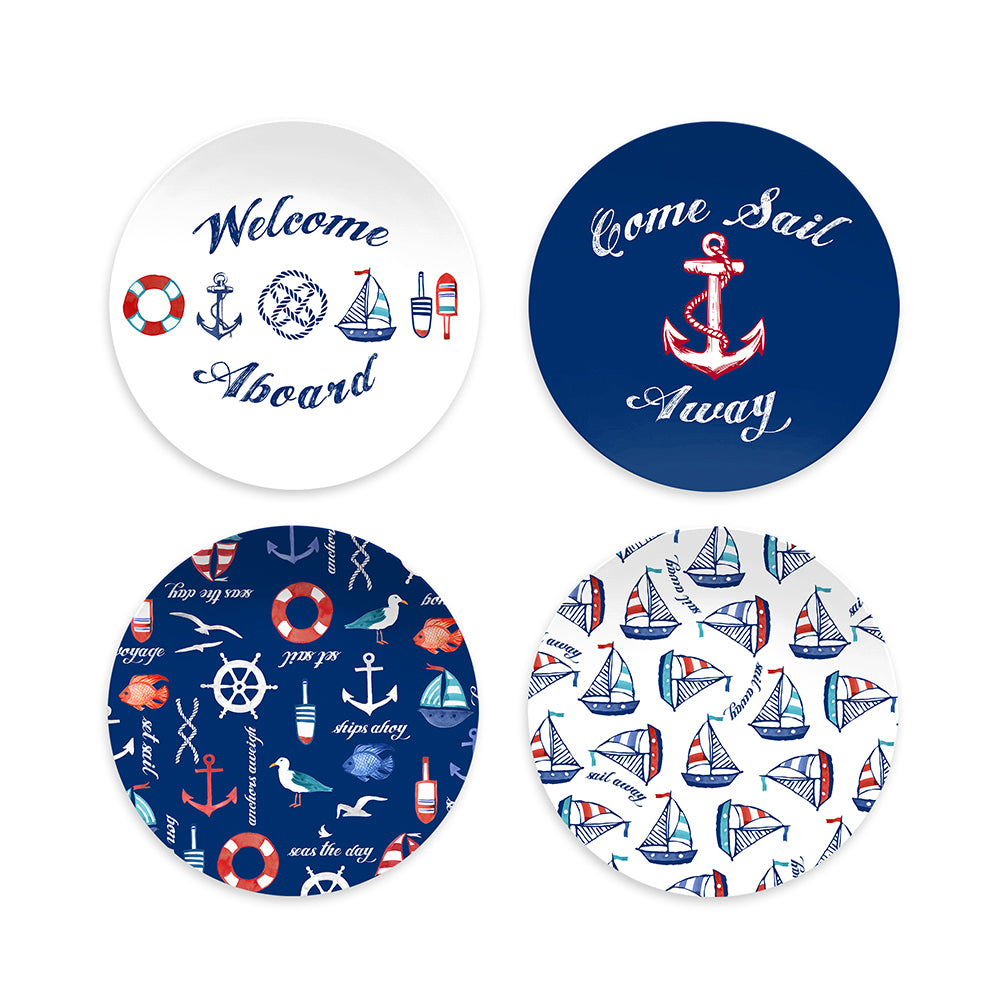 NAUTICAL SET OF 4 ASSORTED SALAD PLATES - Abode Homewares