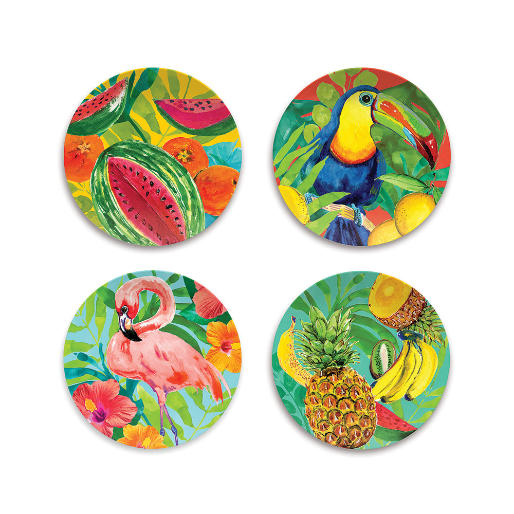 TROPICAL VIBES ASSORTED SET OF 4 SALAD PATES - Abode Homewares