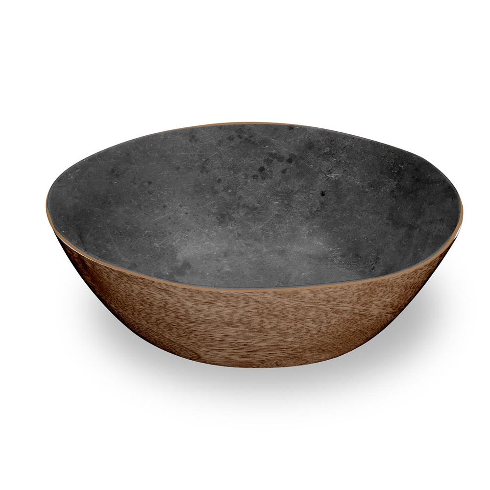 MIXED MATERIAL MARIN & STONE SERVE BOWL - Abode Homewares