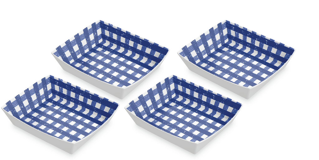 "Homemade Navy Gingham Burger Trays, 8.7"" x 2"", Melamine, Set of 4"