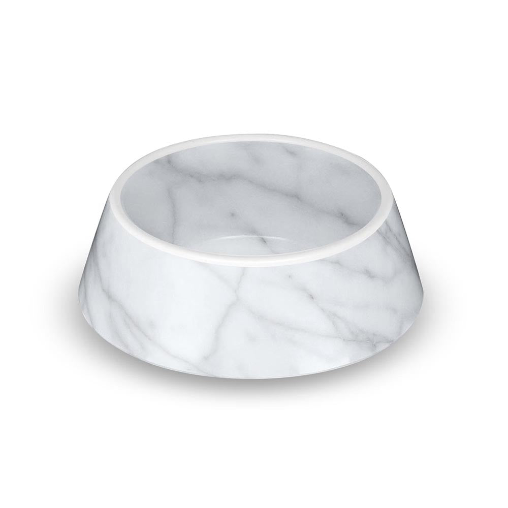 CARRARA MARBLE MEDIUM PET BOWL - Abode Homewares