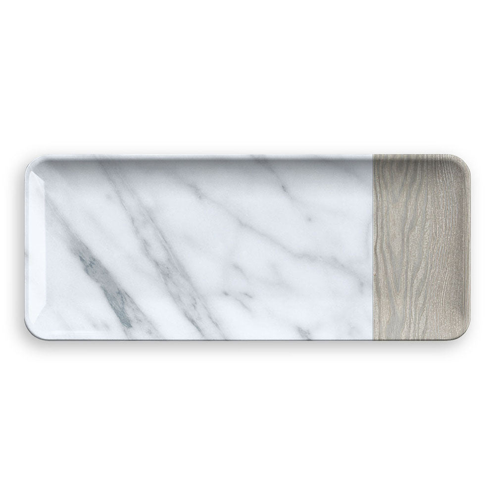 MIXED MATERIAL CARRARA & FRENCH OAK PLATTER - Abode Homewares