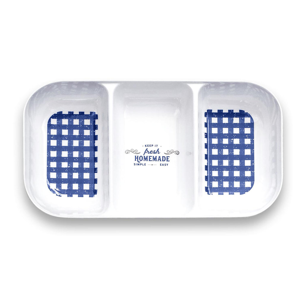 "Homemade Navy Gingham 15"" 3 Section Serving Tray"