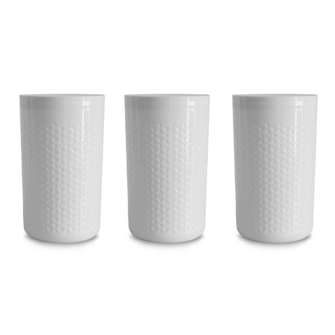 "Moto White Large Canister, 5.5"" x 8.7"",  94 oz. , Premium Plastic, Set of 2"