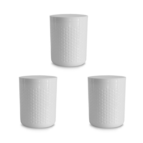 "Moto White Medium Canister , 5.5"" x 6.5"",  70 oz., Premium Plastic, Set of 2"
