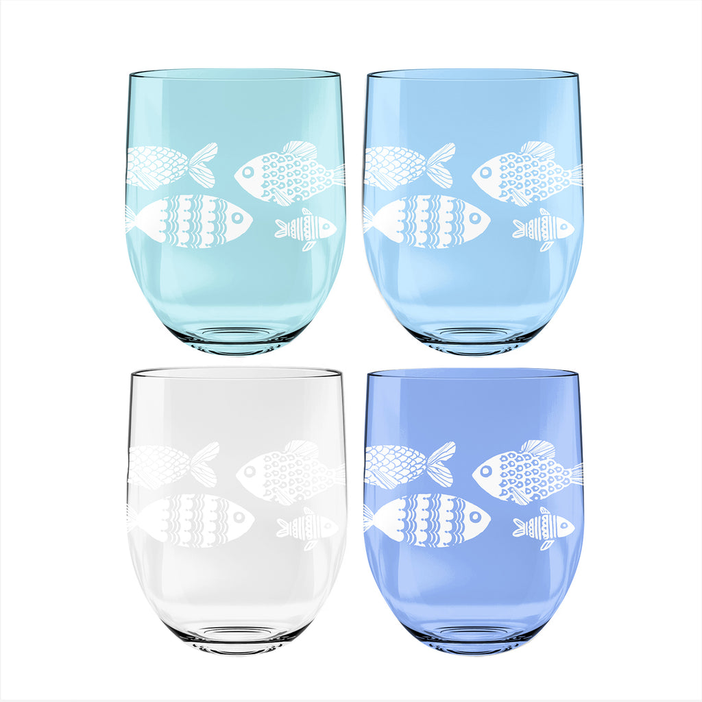 16 OZ NAUTICAL SET OF 4 ETCHED STEMLESS WINE - Abode Homewares