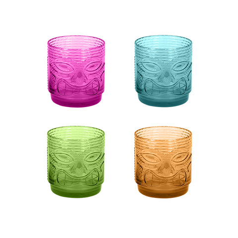 18 OZ TIKI DRINKWARE SET OF 4 DOF - Abode Homewares