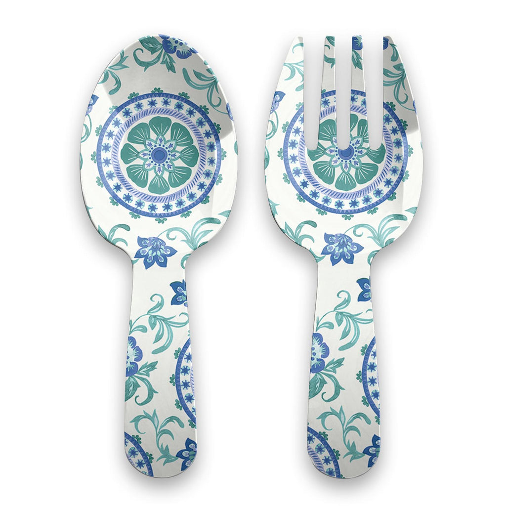 Rio Turquoise Floral Servers