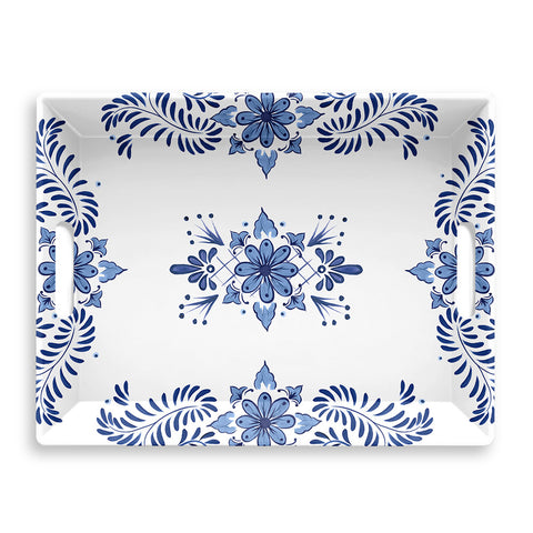 COBALT CASITA HANDLED SERVE TRAY - Abode Homewares
